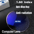 ZBZ 1.60 índice Anti Blue Ray Lente Das Mulheres Dos Homens Lente Óptica Prescrição Olho Lentes de Computador Personalizado 1 Par (2 peças)