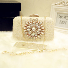 2017 Women Rhinestone SunFlower Evening Bags Knit Style Clutch Diamond Wedding Bridal Purse Party Messenger Bag Vintage Clutch