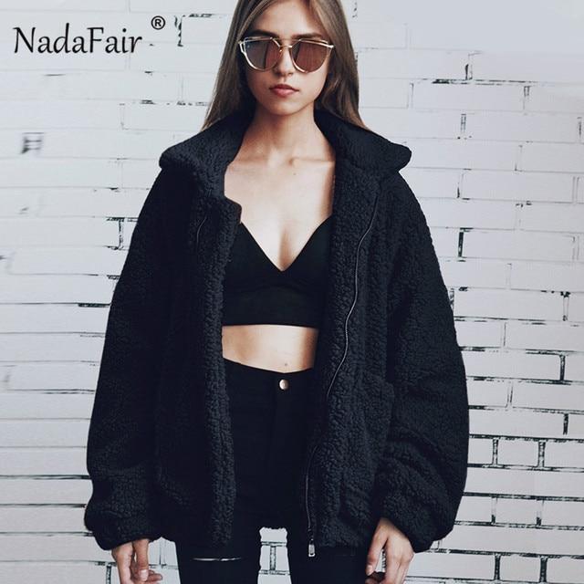 dfb829c33ad Nadafair thick plus size winter fleece faux fur jacket coats women autumn  warm casual teddy coat outerwear soft plush overcoat