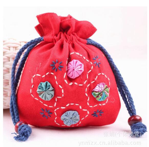 2018 new 2018 Canvas National women Jacquard floral coin purse ladies wallet small phone pouch bag