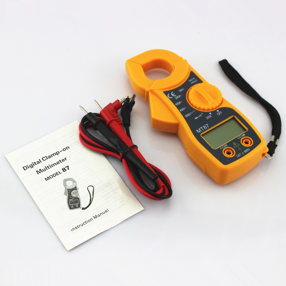 MT87 Yellow Digital Multimeter Amper Clamp Meter Current Clamp Pincers AC/DC Current Voltage Tester fluke f302 1 6 lcd ac clamp meter yellow red 3 x aaa