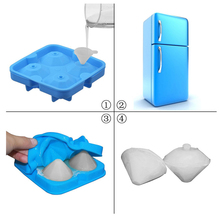 4 Cavity 1.5 inch Diamond Shape 3D Ice Cube Mold Maker Bar Party Silicone Trays Chocolate Mold Kitchen Tool, A Great Gift