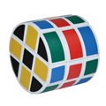 HeShu 3X3X3 3-Layer Cylindrical Magic Cube 57mm - White Body + Colorful Sticker