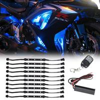 10pcs Motorcycle LED Light Kit RGB Multi Color Flexible Strips Ground Effect Light Kit With Wireless