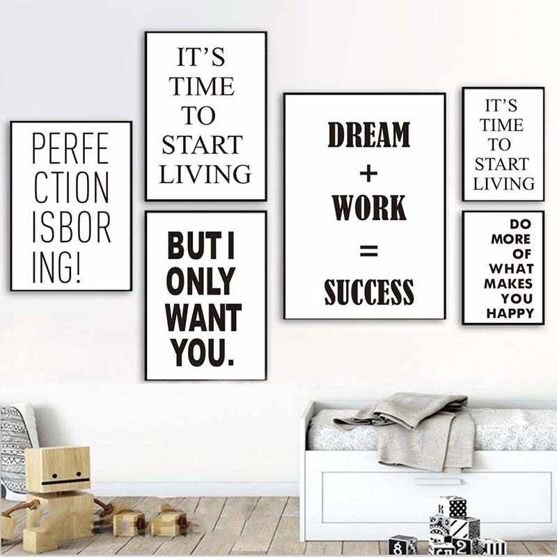 Nordic Wall Art For Living Room Home Decor Modular Dream Work Success Life Quotes Picture Canvas Painting Poster Art Prints