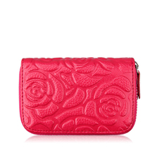 Weduoduo Women Business Card Holder Cow Leather Wallet Prevent RFID Female Rose Credit New Case