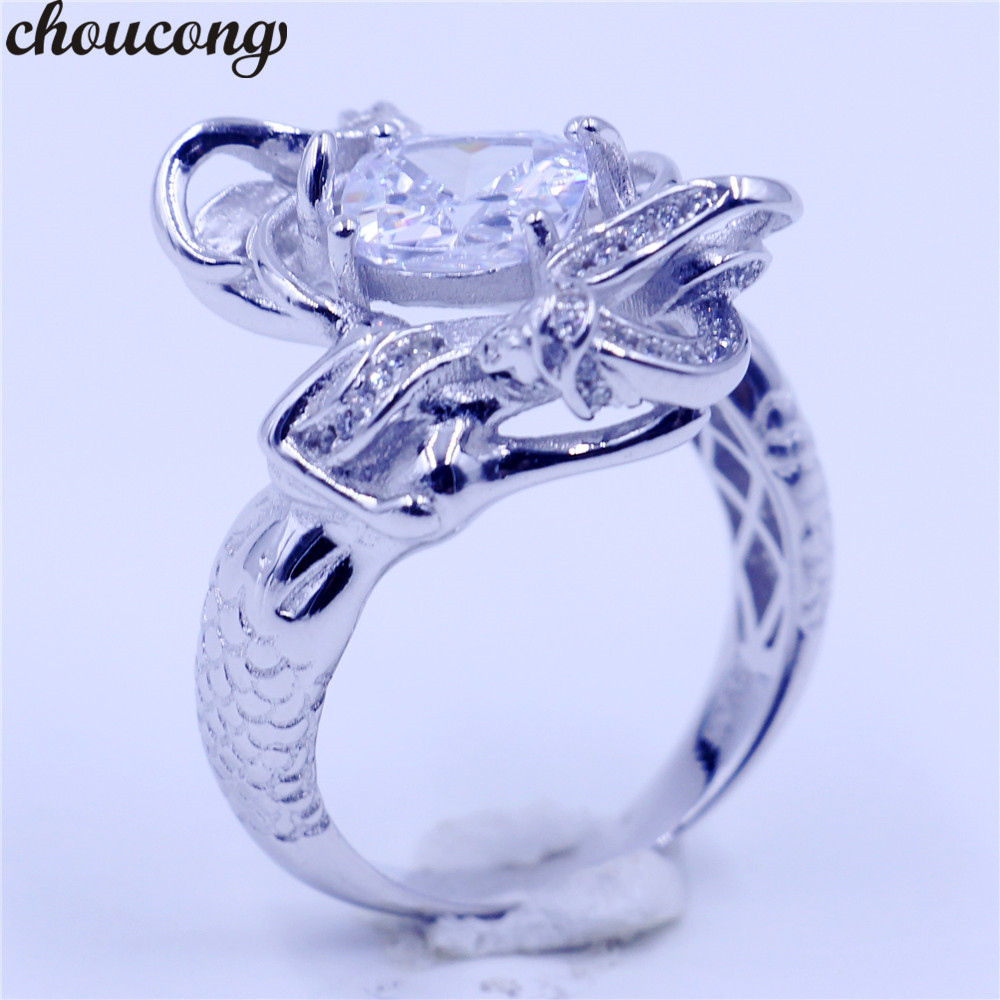 Choucong Mermaid Ring Cushion Cut 8mm Diamonique Cz 925 Sterling Silver  Filled Wedding Band Rings For