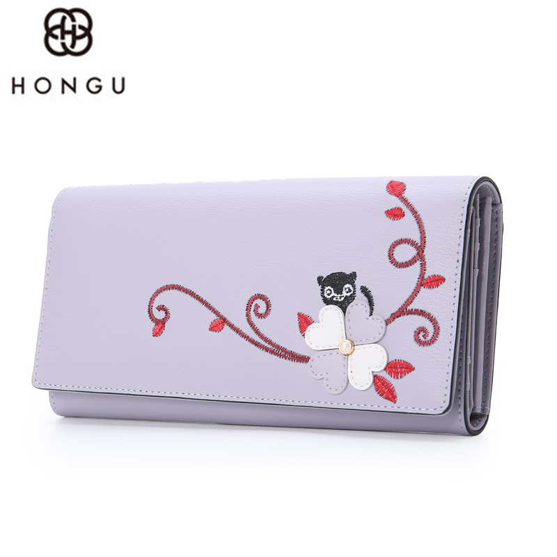HONGU Fashion Women Long Wallet Cow Leather Flowers Handbags Coin Purse Clutch Makeup Bag Passcard Holder Messenger Iphone Bags yuanyu 2018 new hot free shipping real python leather women clutch women hand caught bag women bag long snake women day clutches