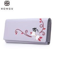 HONGU Fashion Women Long Wallet Cow Leather Flowers Handbags Coin Purse Clutch Makeup Bag Passcard Holder Messenger Iphone Bags