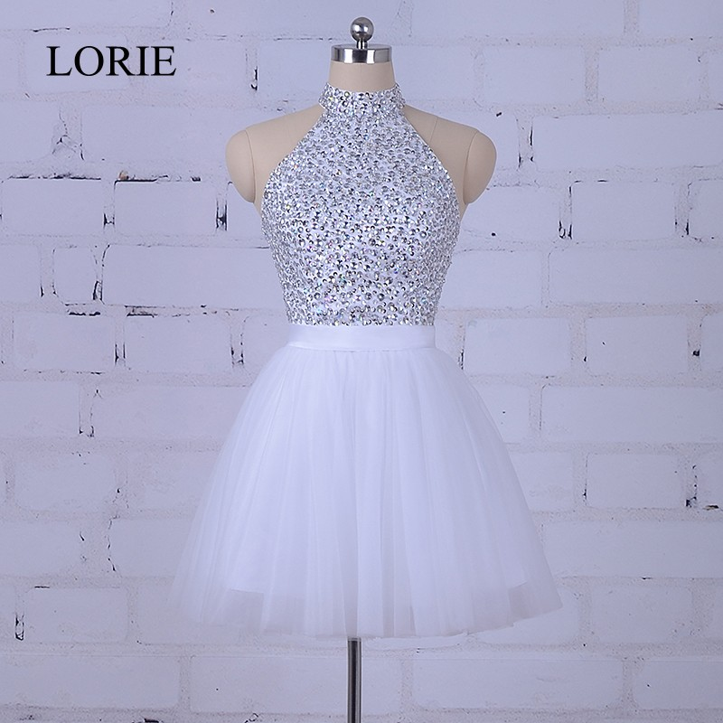 Bling White Short   Prom     Dresses   2018 Robe Courte Graduation Party   Dress   For Teens High Neck Formal Homecoming   Dresses