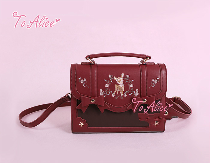 Princess sweet lolita bag To Alice Original deer wreath embroidery Chinese style Handbag Shoulder Bag fashion women BAG224 deer embroidery tee