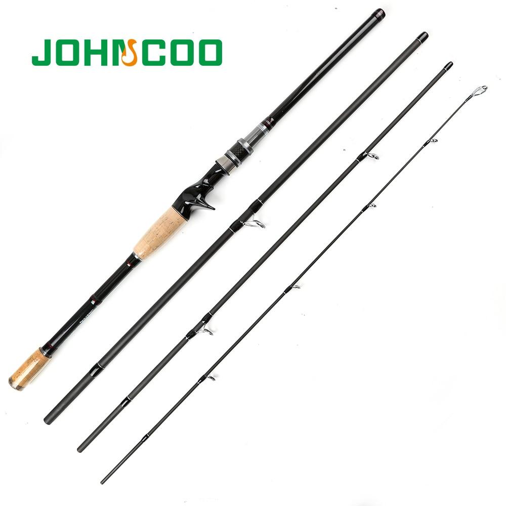 JOHNCOO voyage coulée filature tige 2.1 m 2.4 m 2.7 m 3 m télescopique carbone canne à pêche 4 Sections voyage tige d'alimentation 10-25g