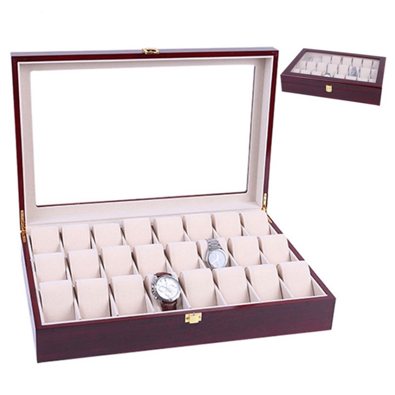 2019 New 24 Grids Wooden Watch Case Watch Boxes Casing for Hours Sheath for Hours Box for hours Watch 61 hours