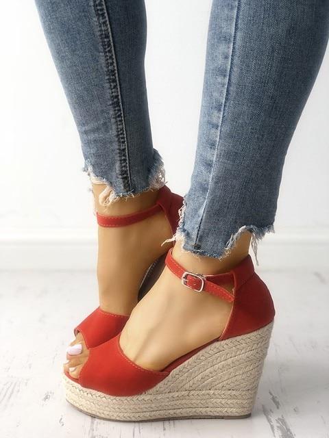 c34412e9fc9516 LAPOLAKA Ankle Strap Espadrille Wedge Sandals high heels big size 32-44  2019 leisure walking date summer Women s shoes woman