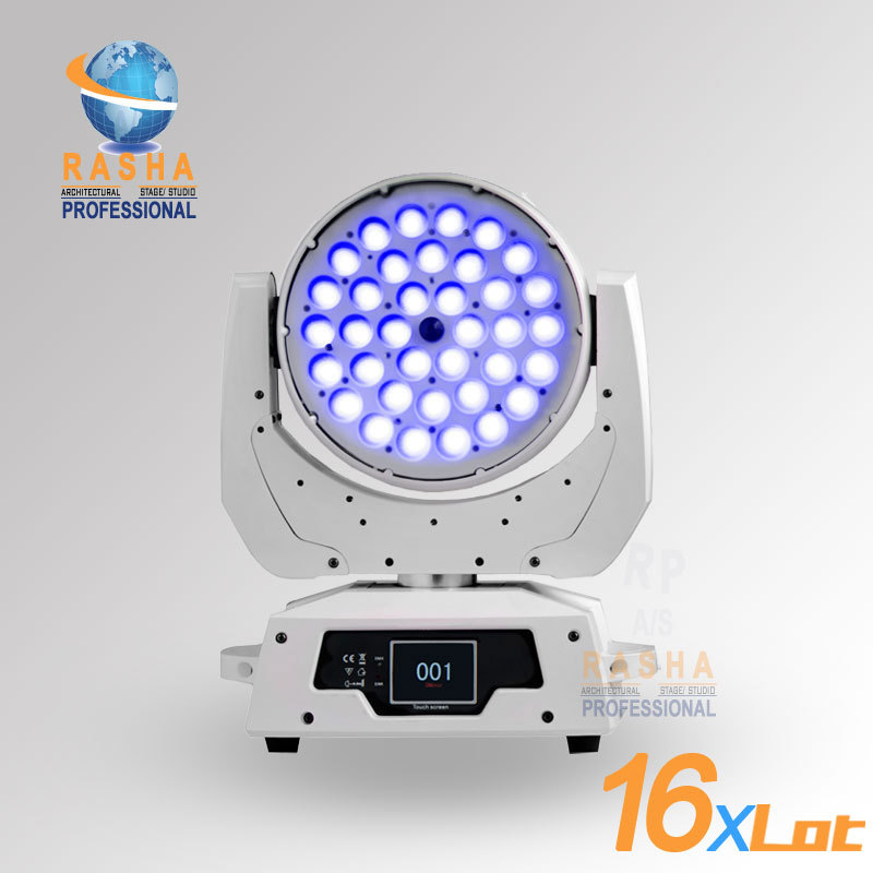 16X LOT Rasha 36*15W 5in1 RGBAW Zoom LED Moving Head Wash With Touch Screen LCD Display,Powercon DMX In&OUT,Stage Light