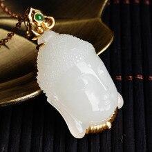 Hetian jade beadle pendant female with 18 k gold inlaid jade