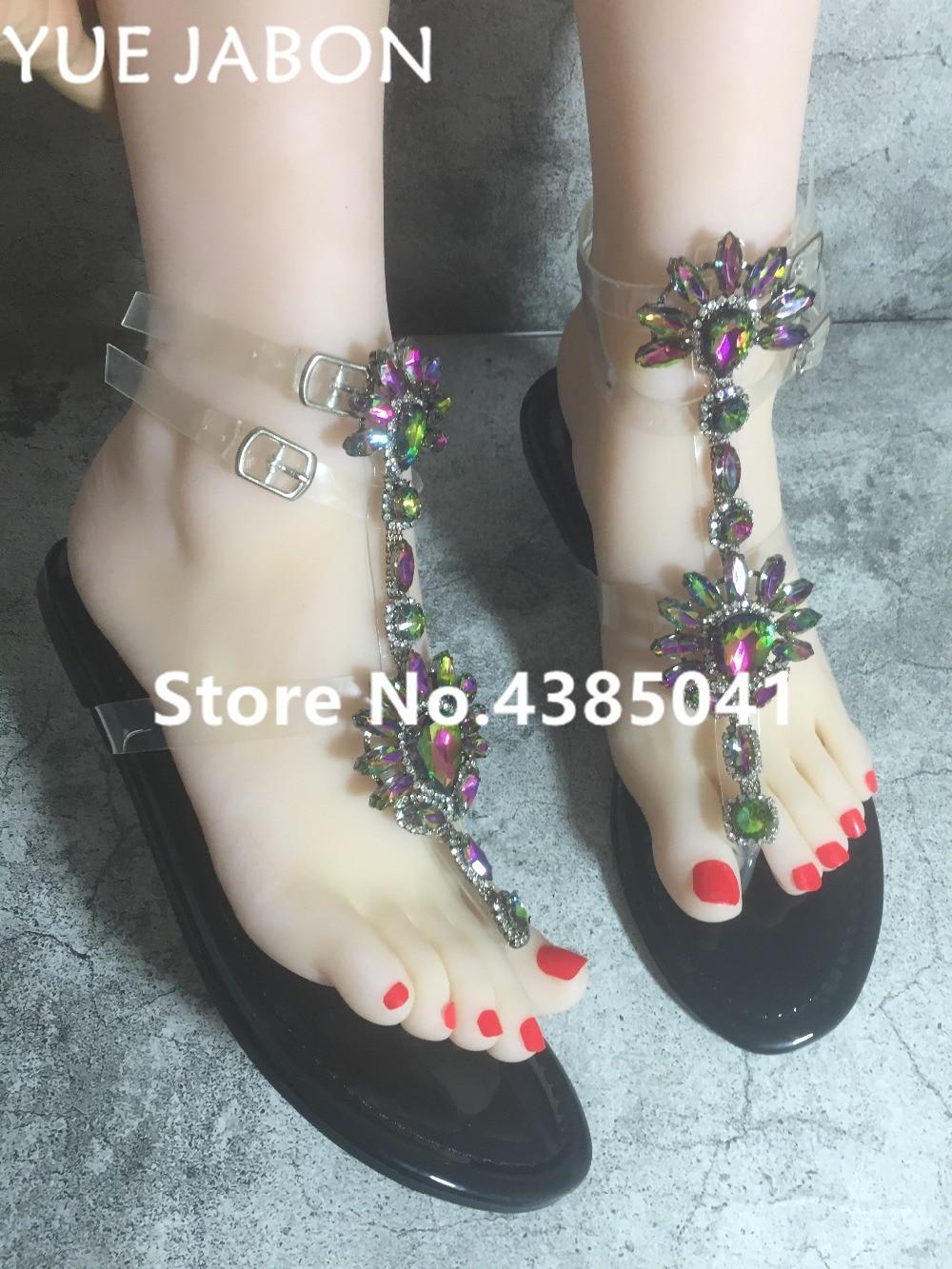 HTB10k.VAoR1BeNjy0Fmq6z0wVXa7 2019 shoes woman sandals women Rhinestones Chains Flat Sandals Thong Crystal Flip Flops sandals gladiator sandals 43 free ship