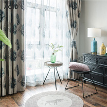 Modern Shading Designed Sound Insulation American Style Printed Feather Curtains For Living Room Window Drapes For Bedroom SJ10