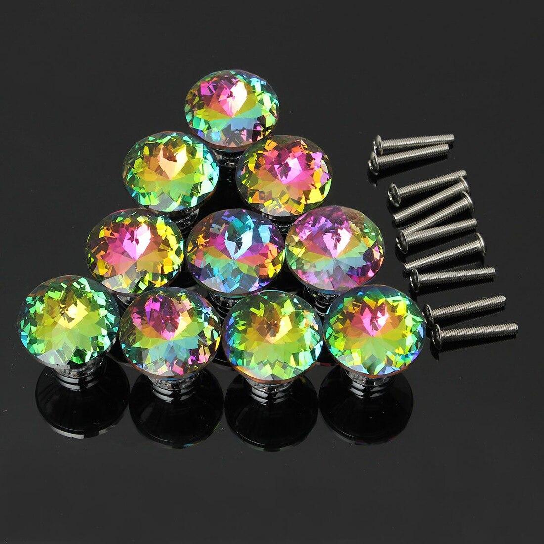 HHTL-10x Diamond Crystal Glass Door Knobs Cupboard Wardrobe Cabinet Door Handles cabinet knobs and handles crystal diamond glass 30