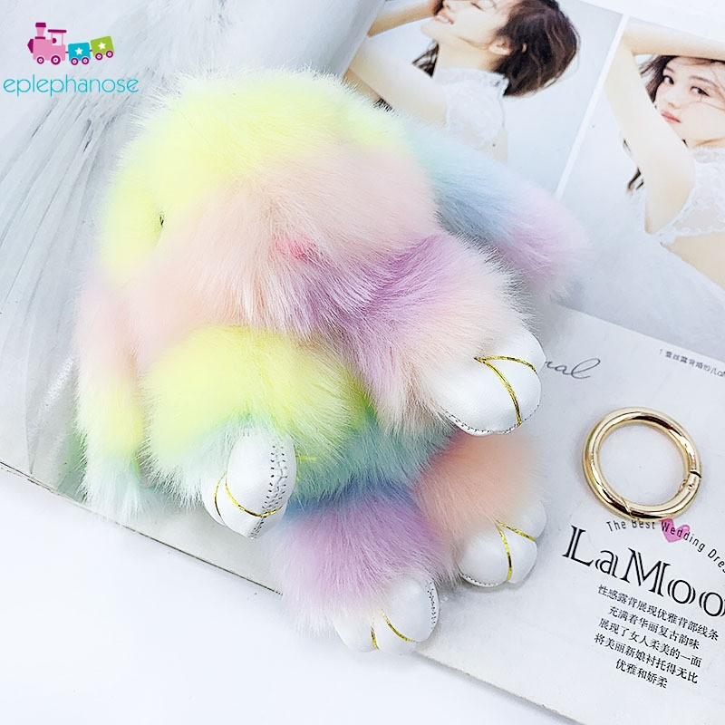 Colored Rainbow Kawaii Plush Rabbit Keychain Rabbit Doll Fluffy Faux Fur Pompom Bunny Toys Key Chain Christmas Gifts For Kids