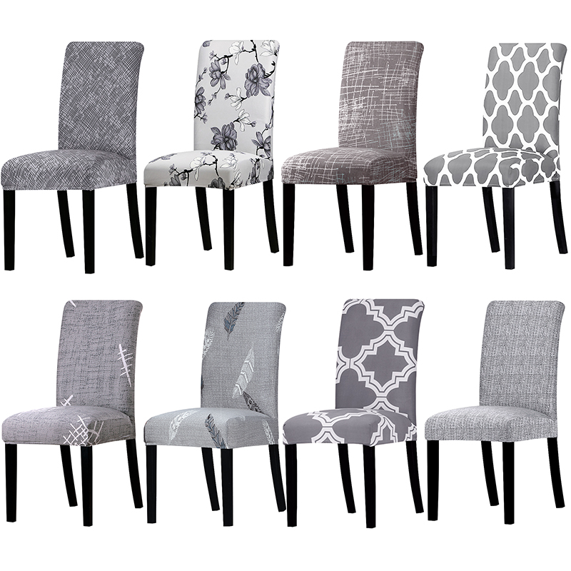 Grey Colors Stretch Chair Cover Big Elastic Seat Chair Covers Painting Slipcovers Restaurant Banquet Hotel Home Decoration