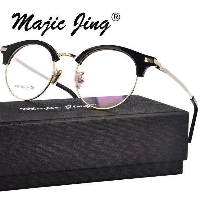 fc6df83e815d5 Magia Jing + Acetato armações miopia óculos óculos RX de combinação de aço  inoxidável unisex gm3022
