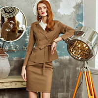 Women Skirt Suits Elegant OL Office Lady Double Breasted Belt Blazer Skirt Slim Business Formal Work 2 Piece Set Female Uniform