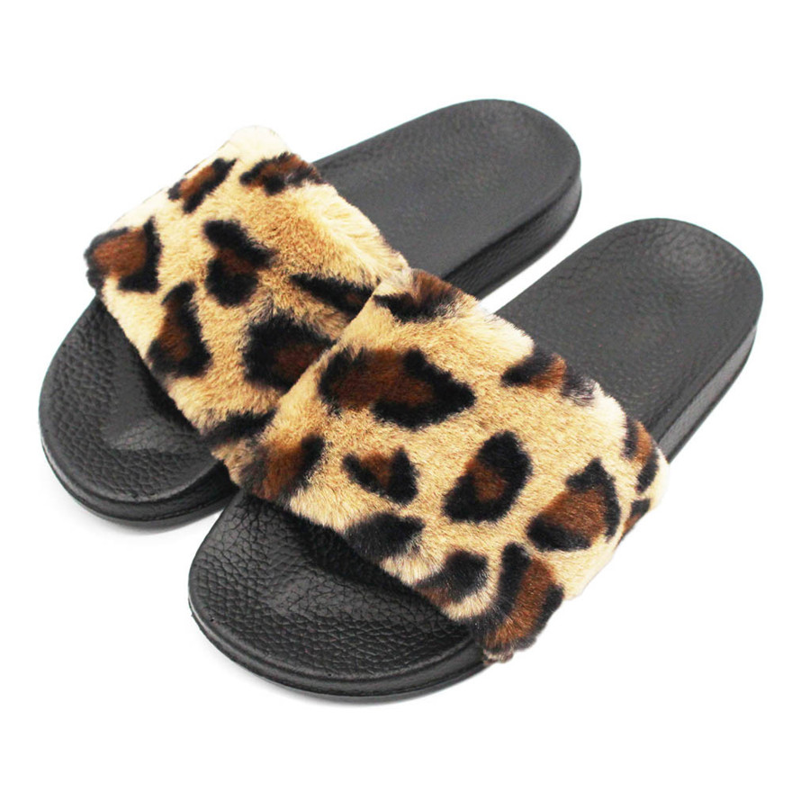 Fasion Womens Ladies Sliders Leopard Fluffy Faux Fur Flat Slipper Flip Flop Sandal High quality women shoes Slipper casual shoeT
