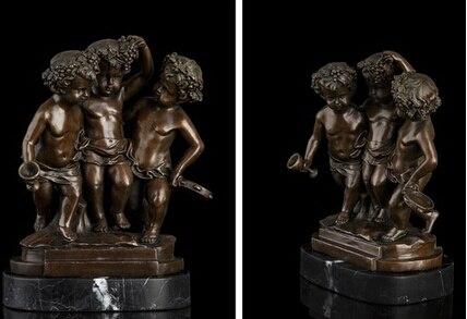 Antique bronze Pure Copper Brass Asian Art Deco escultura de Bronze do menino querubimAntique bronze Pure Copper Brass Asian Art Deco escultura de Bronze do menino querubim