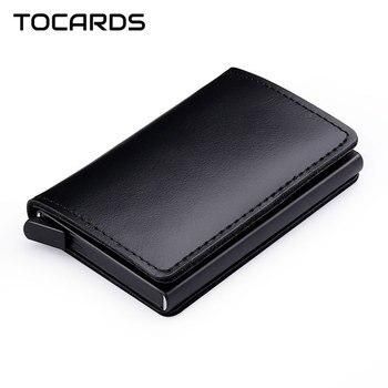 RFID Protected 100% Genuine Leather Card Holder Aluminum Metal Business ID Credit Cardholder Slim Card Case Mini Wallet for Men