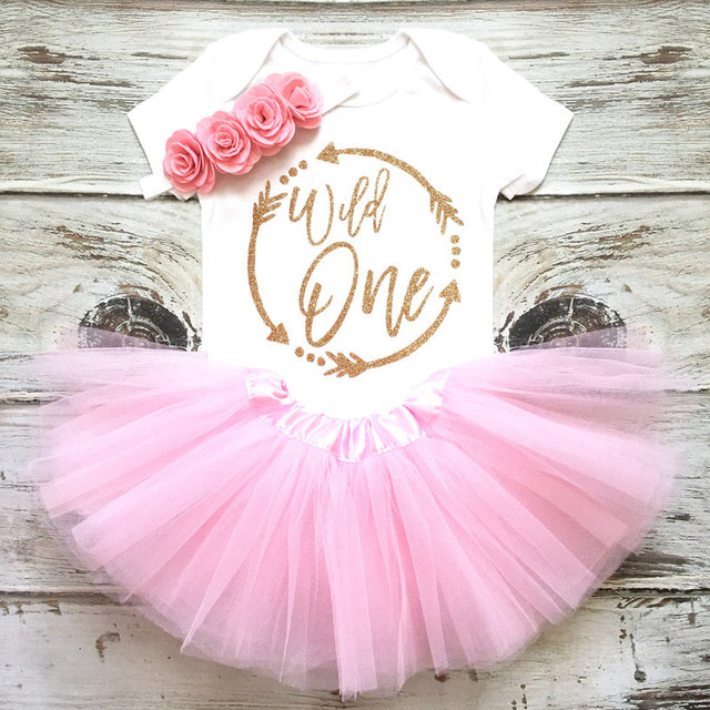 Cute Pink Little Baby Girls First 1st Birthday Cake Smash Outfits