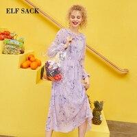 ELF SACK 2019 Summer Dress Floral Chiffon Ruffle Women 2 Pieces Set Bohemian O Neck Ladies Women Dresses Streetwear Vestidos