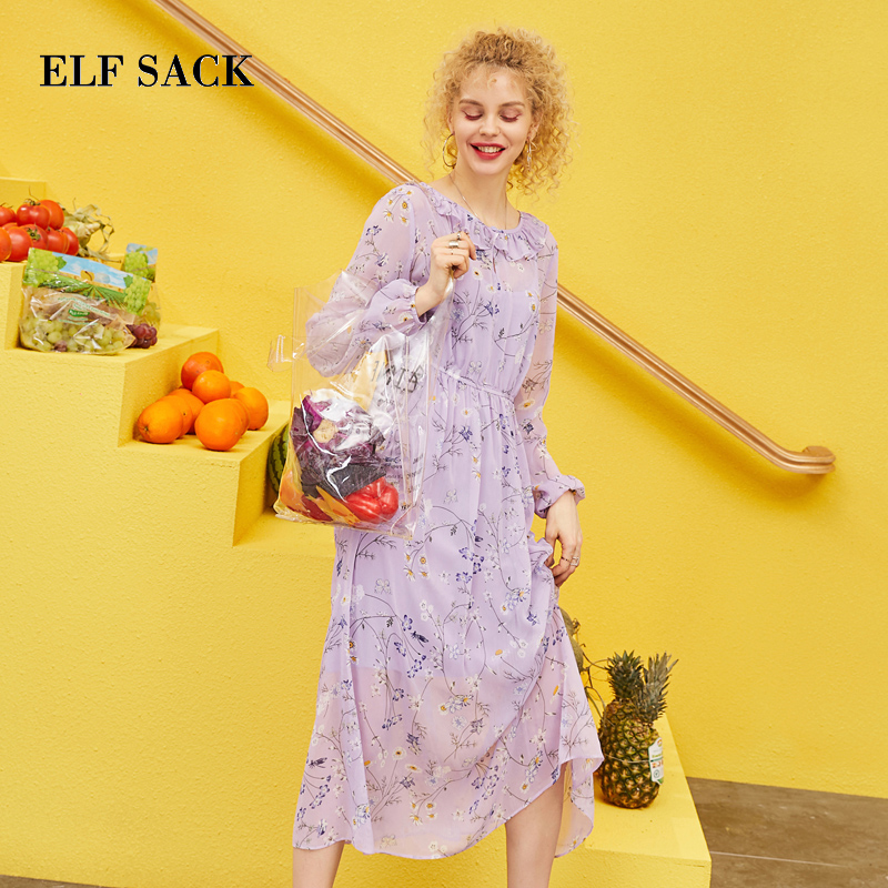 ELF SACK 2019 Summer Dress Floral Chiffon Ruffle Women 2 Pieces Set Bohemian O Neck Ladies Women Dresses Streetwear Vestidos