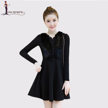 6e6dee2f1b80d9 2018 Autumn Winter Fashion Temperament Slim Fake Two pieces Dress  Thickening Long-sleeved Solid color Woolen Dress Female DD346