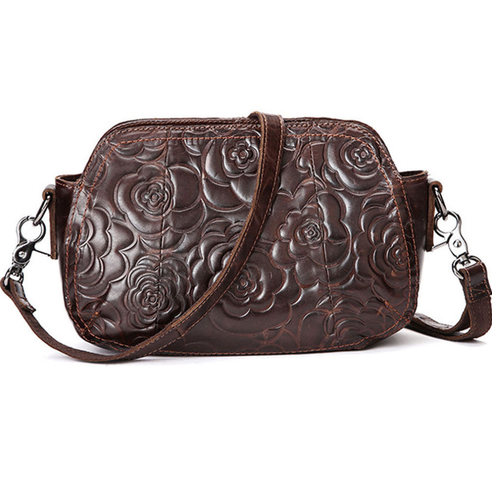 2018 Ladies Fashion Vintage Genuine Leather Cowhide Messenger Shoulder Pack Cross Body Luxury Women Floral Pattern Print Bag New new top quality ladies fashion first layer cowhide handbag messenger shoulder pack cross body luxury trend bag wallet