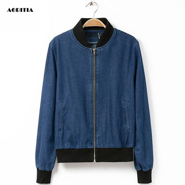 2017 Women Denim Bomber Jacket Female Fashion Biker Jean Coat Long ...