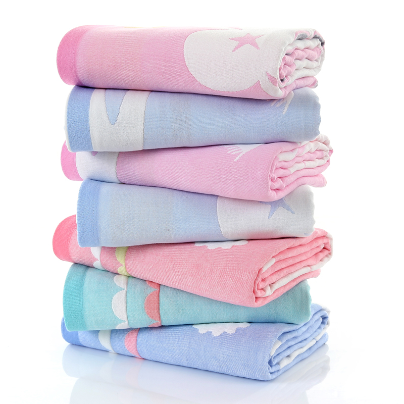 Baby bath towel cotton three-layer gauze newborn child newborn baby bath towel super soft absorbent bath towel