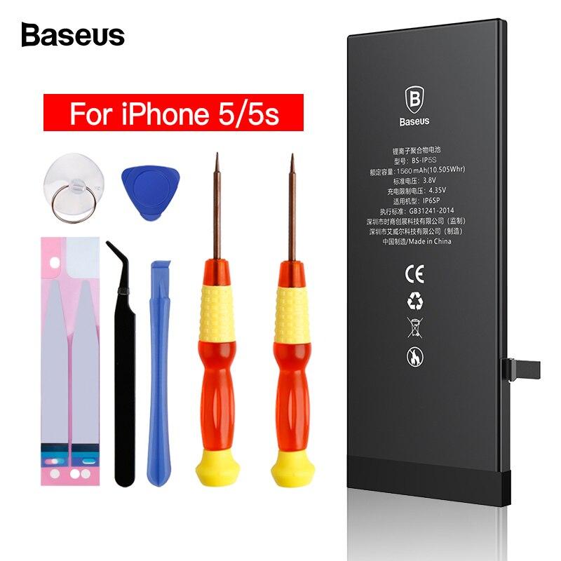 Baseus batería de teléfono móvil para iPhone 5S 5 s Original Batteria capacidad Real 1560 mAh 1440 mAh reemplazo de la batería para iPhone5s