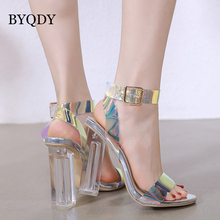 BYQDY Elegant Lucite Clear Strappy Block Clear Transparent Sandals Square High Heel Open Peep Toe Sandal T-Strap Shoes Female single sole clear lucite chunky heel sandals women ankle strap perspex high heel sandal plastic transparent dress sandals