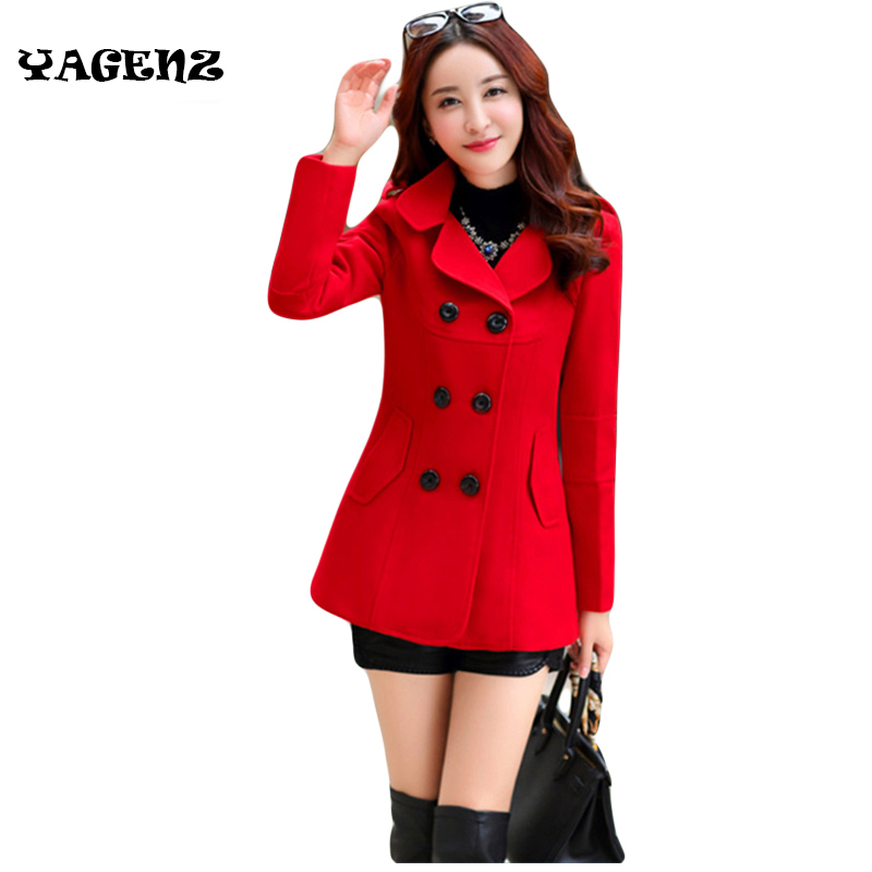 Women Woolen Coats Winter Trench Coat Fashion Cocoon Wool Long Coat Tops Women's Wool Woat Elegant Bodycon Double Breasted Coat(China)