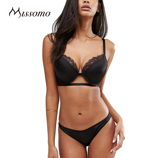 Missomo 2017 New Fashion Women Black Sexy Push Up Lace Wire Support Bralettes Nets Underwear Soft Panties Breathable Bra Sets