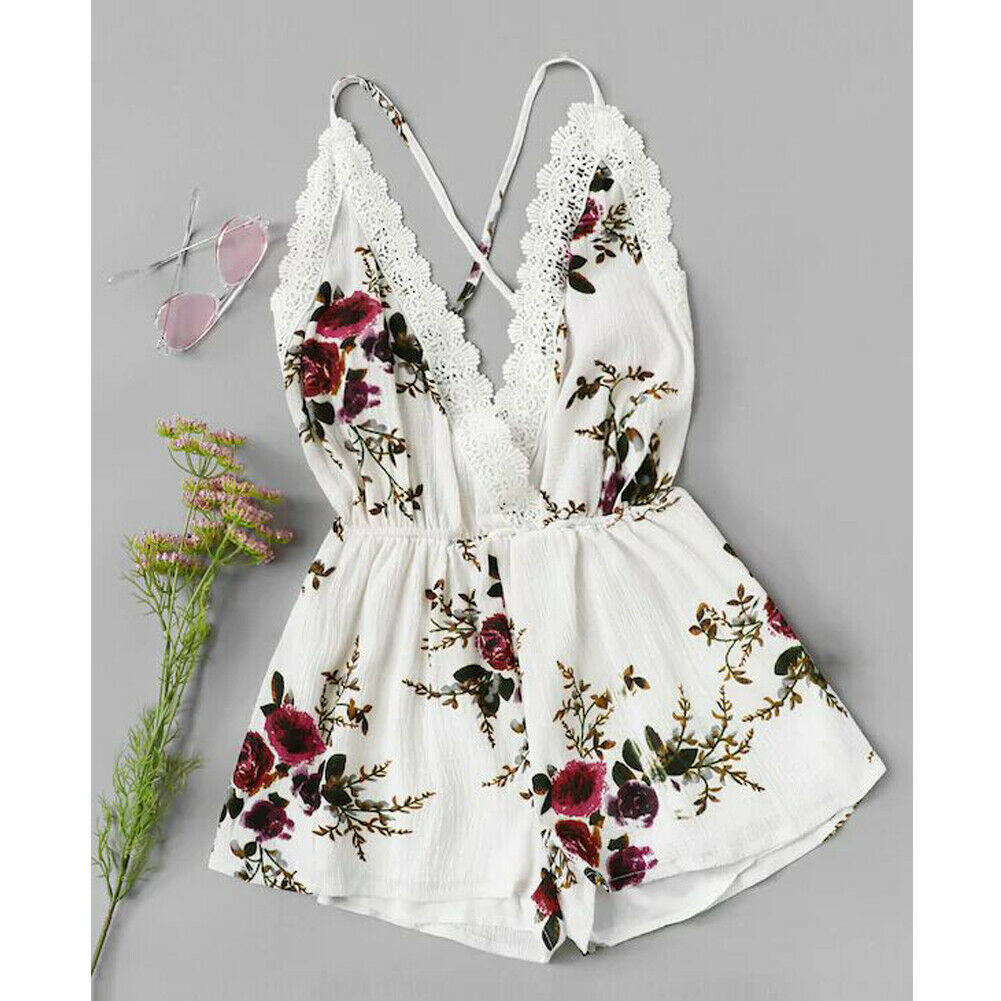 Newborn Baby Girl Flower Lace Edge   Romper   Jumpsuit Outfit Clothes