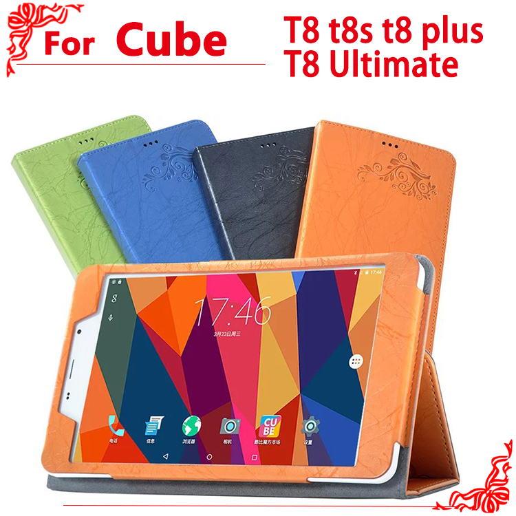 Free shipping PU Leather Case for cube T8 t8s t8 plus T8 Ultimate 8tablet pc, High-quality case for CUBE T8 + free 2 gifts