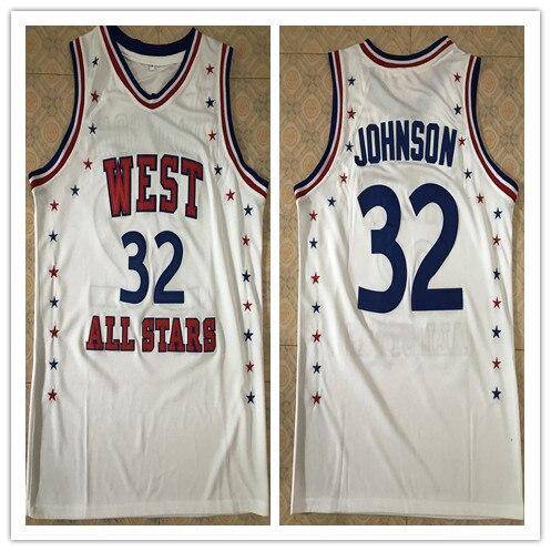 #32 Magic Johnson 1983 All Star West haute qualité basket-ball Jersey broderie cousu personnaliser n'importe quel nom et numéro