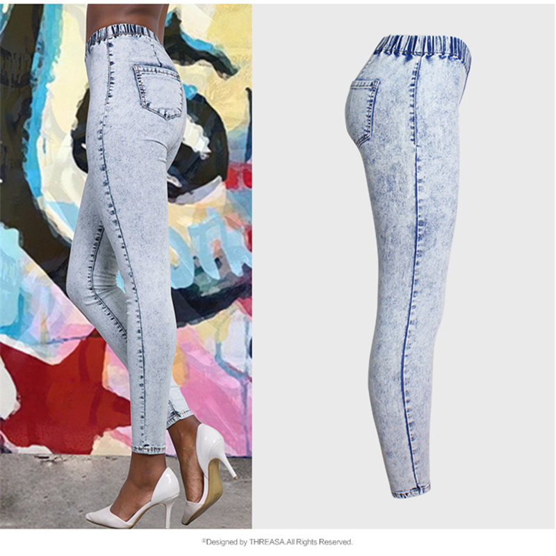 Women's Jeans Snowflake Washed Loose Slim Stretch Jeans,  Spring And Summer Large Size Mid-Waist Pencil Pants Four Seasons B003