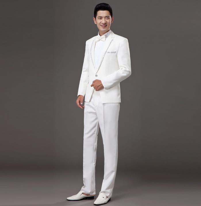 Bianco coreano diamante sposato set abito formale abiti da uomo matrimonio sposo vestito degli uomini ultime coat pant designs abiti da uomo + pant + ti - 2