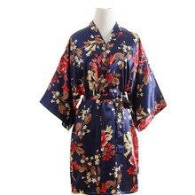 Women Silk Satin Wedding Bride Bridesmaid Robe Floral Bathrobe Short Kimono Robe Night Robe Party Robe Fashion Dressing Gown