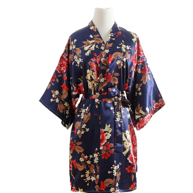 2170624ef5 Women Silk Satin Wedding Bride Bridesmaid Robe Floral Bathrobe Short Kimono  Robe Night Robe Party Robe Fashion Dressing Gown