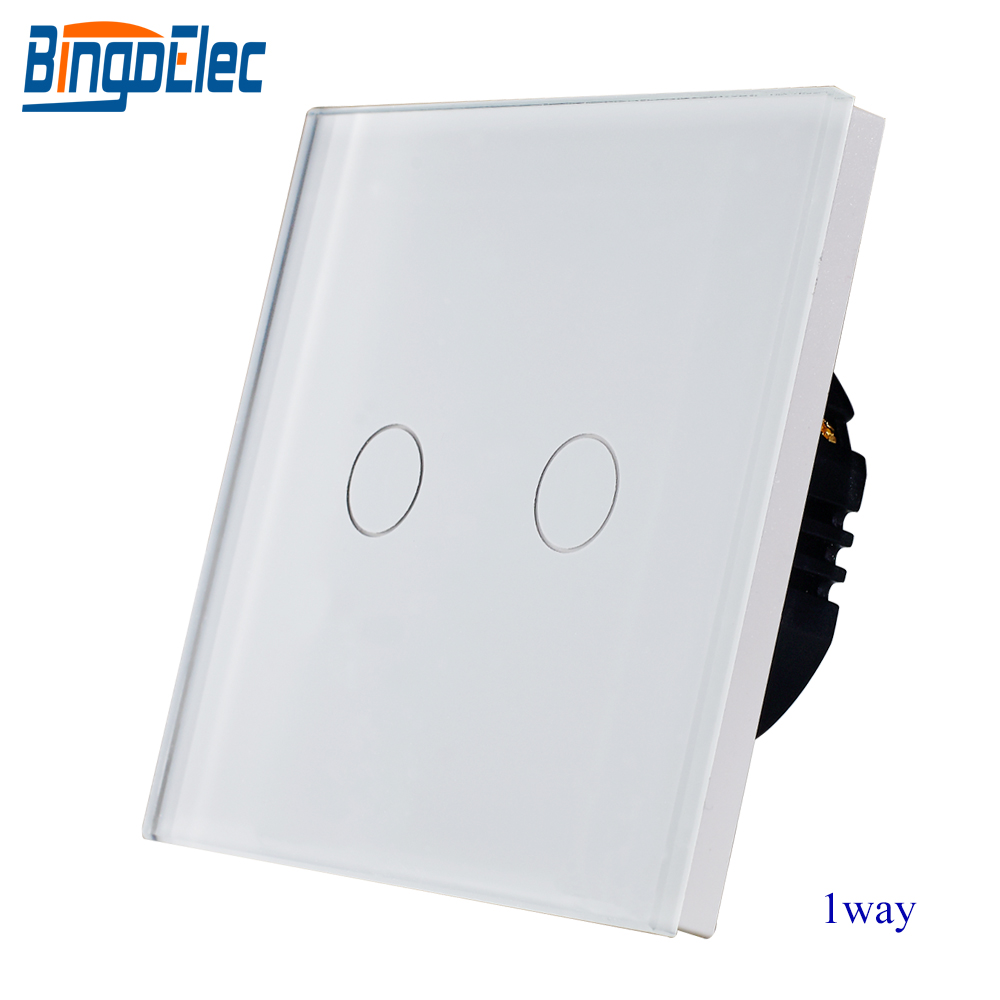 EU/UK estándar AC110-250V panel de vidrio blanco 2 gang 1way touch light sensor