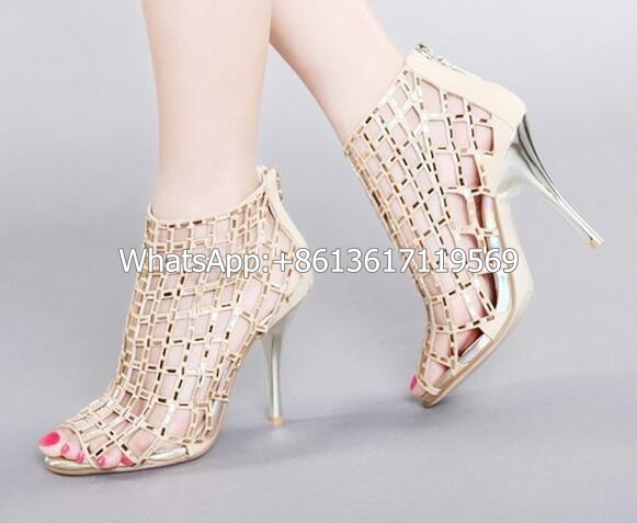New Arrival Shinny Drilled Women Cut Out Sandals Sexy Peep Toe Fretwork Gladiator Heel Party Shoes Bling Beaded Shoes Real Photo